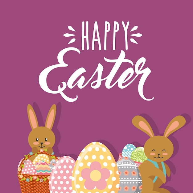 Симпатичные кролики с корзинами цветочные и яйца счастливые пасхи Premium векторы