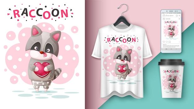 Cute raccoon applications Premium Vector