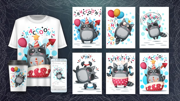 Cute raccoon card set and merchandising Premium Vector