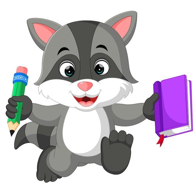 Симпатичные енот мультфильм проведения книги Premium векторы