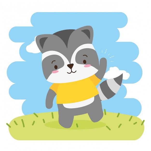 Cute raccoon cartoon, illustration Free Vector
