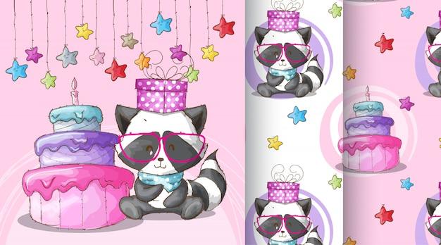 Cute raccoon happy birthday pattern illustration Premium Vector