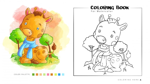 水彩塗り絵の鳥漫画イラストとかわいいアライグマの遊び Premiumベクター
