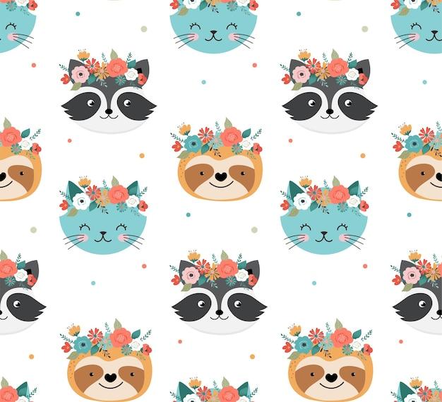 花の冠のシームレスなパターンでかわいいアライグマ、猫、ナマケモノの頭 Premiumベクター