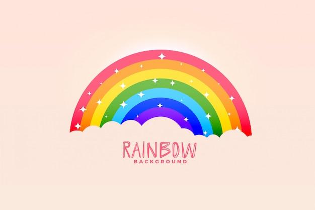 かわいい虹と雲ピンクの背景のスタイリッシュなデザイン 無料ベクター
