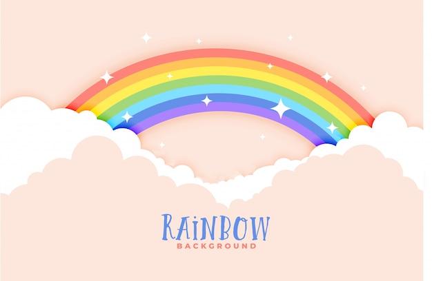 かわいい虹と雲のピンクの背景 無料ベクター