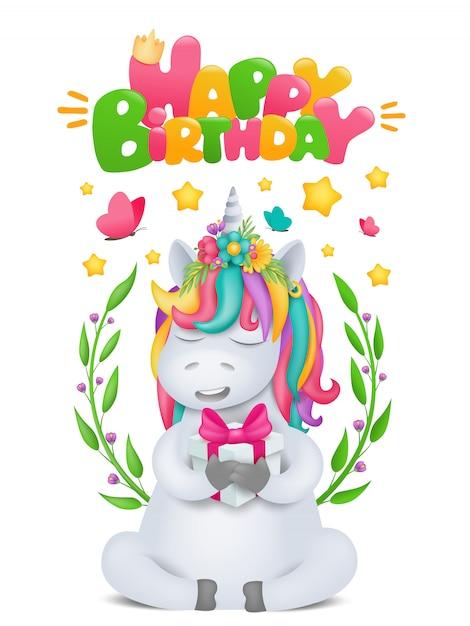 Cute rainbow cartoon unicorn character with gift box in hands. birthday card template. Premium Vector