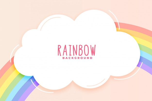 Cute rainbow and cloud background in pastel colors | Free ...