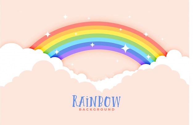 Cute rainbow and clouds pink background Free Vector