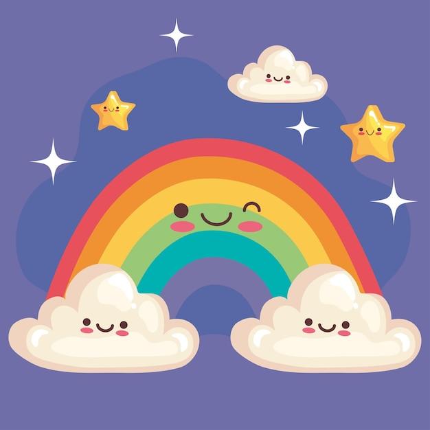 별과 구름 귀여운 캐릭터와 귀여운 무지개 프리미엄 벡터