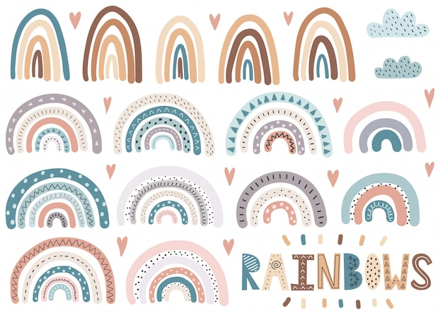 Cute rainbows, clouds, hearts collection. isolated elements set Premium Vector