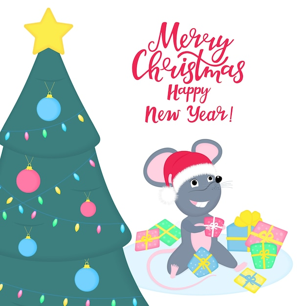 Cute rat or mouse in santa claus hat is sitting in a pile of gifts under the christmas tree. funny cartoon smiling mice Premium Vector