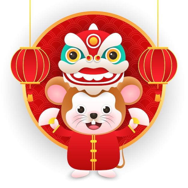 Cute rat wearing chinese costume with dragon in new year chinese Premium Vector