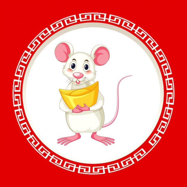 Cute rat with gold on round frame Free Vector