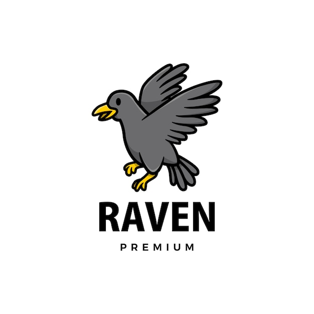 Cute raven cartoon logo  icon illustration Premium Vector