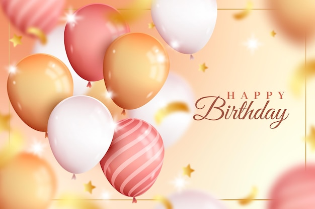Cute realistic happy birthday balloons background Free Vector