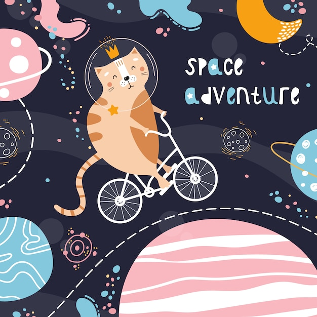 Cute red cat on a bicycle in space Premium Vector