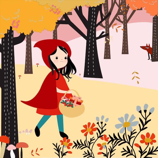 かわいい赤いフードの森の中の女の子 Premiumベクター