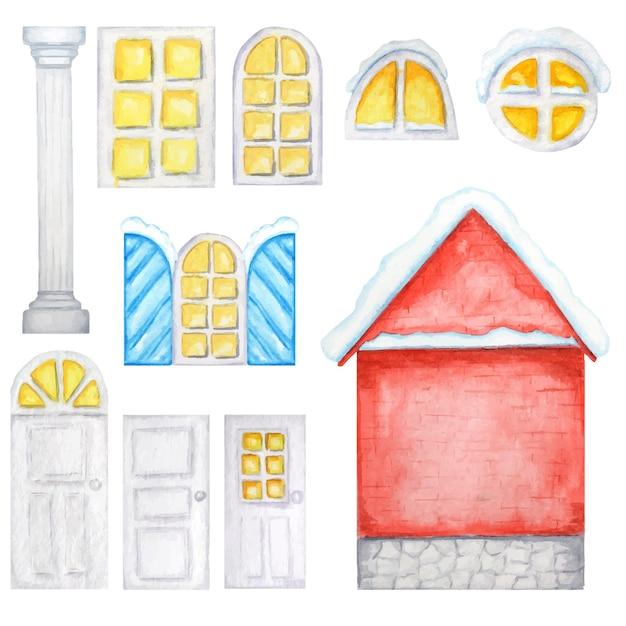かわいい赤い家、白い窓、ドア、クリスマスコンストラクター。水彩イラスト Premiumベクター