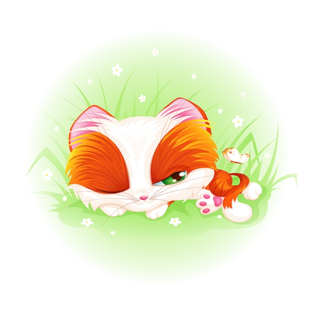 Cute red kitten sleeps and looks at the butterfly. Premium Vector