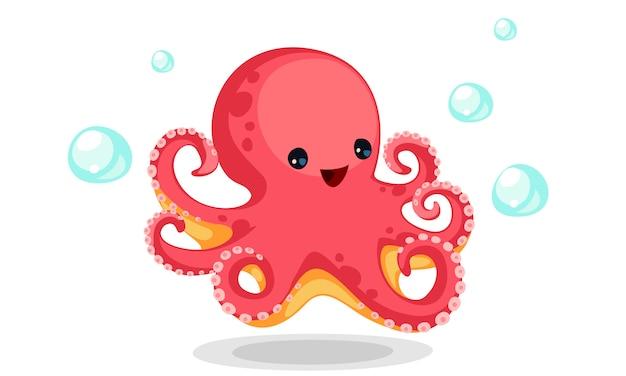 Cute red octopus cartoon vector Free Vector