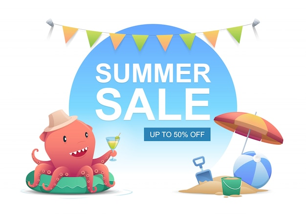 Cute red octopus with cocktail drink glass in the summer time. summer sale. vector illustr Premium Vector