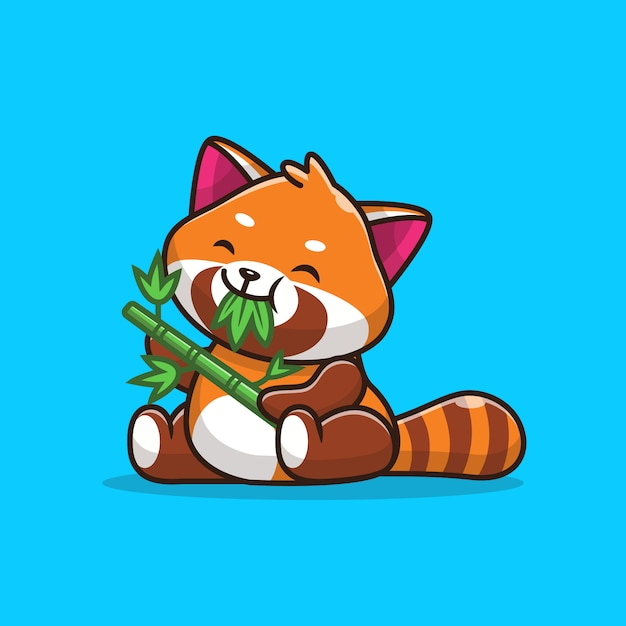 Premium Vector Cute Red Panda Eating Bamboo Leaves Icon Illustration Flat Cartoon Style
