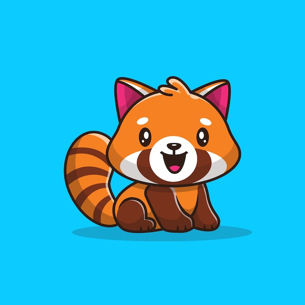 Premium Vector Cute Red Panda Icon Illustration Flat Cartoon Style