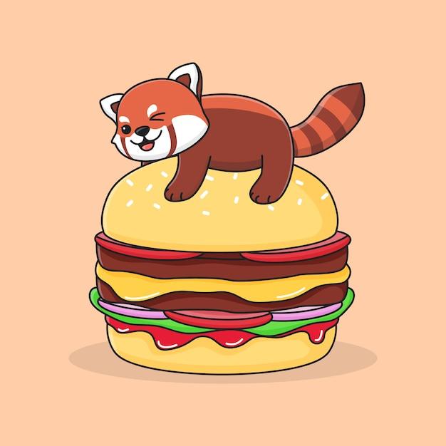 ハンバーガーの上にかわいいレッサーパンダ Premiumベクター