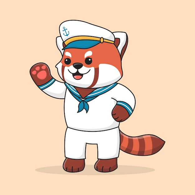 かわいいレッサーパンダの船乗り Premiumベクター