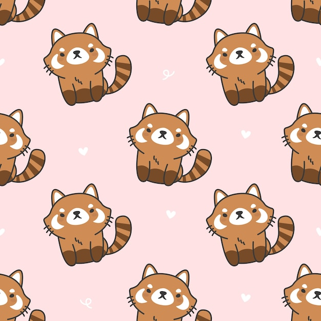 Cute red panda seamless pattern background Premium Vector