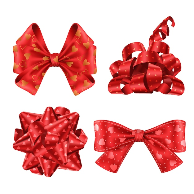 Cute red ribbons and bows top and side view set Free Vector