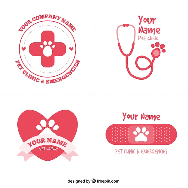 Cute red vet logos Free Vector