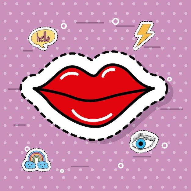 かわいい赤い女性の口紅ファンタジーアイコンのステッカー Premiumベクター