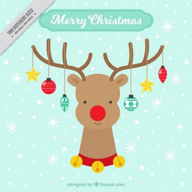 Cute Reindeer Background With Christmas Ornaments Free Vector