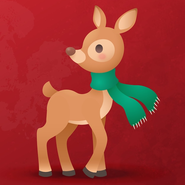 Cute reindeer cub flat cartoon for christmas decoration Premium Vector