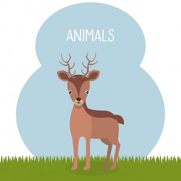 Cute reindeer in the field landscape character Free Vector