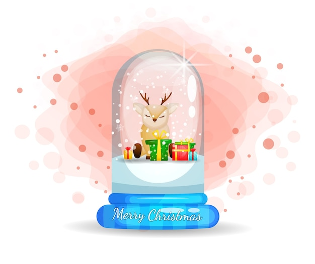 Cute reindeer in glass cloche for christmas day Premium Vector