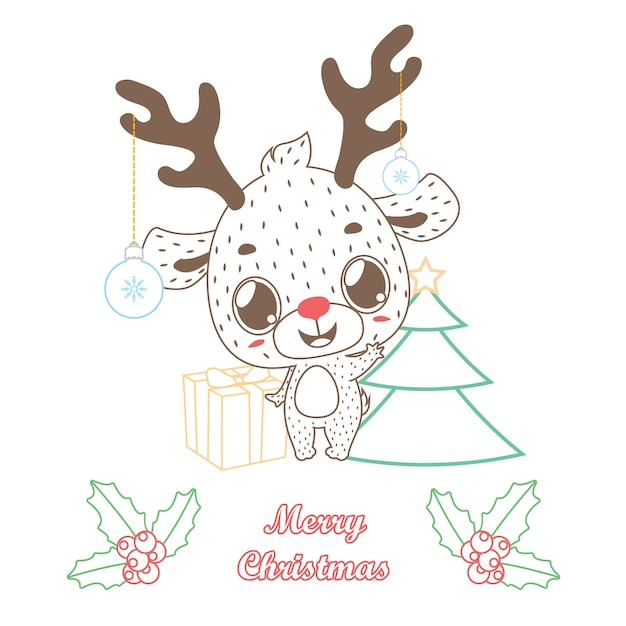 cute reindeer greeting with outline style vector premium download
