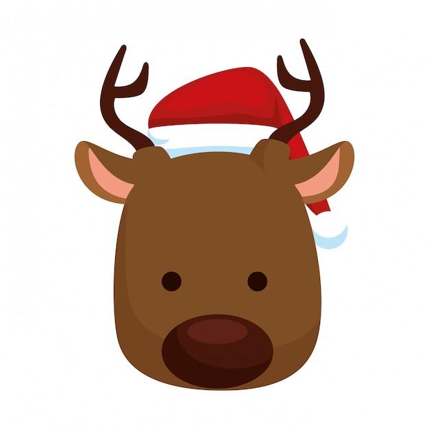 Cute reindeer head christmas character Premium Vector