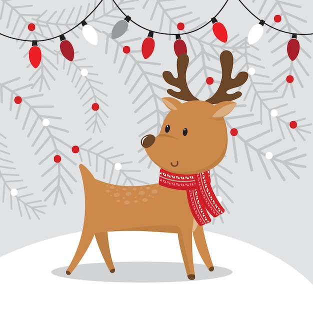 Cute reindeer with christmas decoration lamp on grey Premium Vector