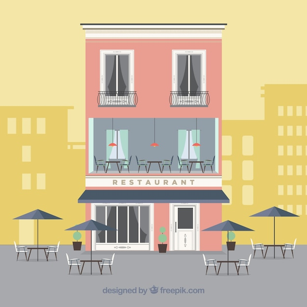 Cute restaurant facade in flat design vector free download