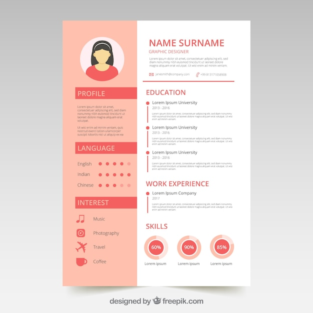 Cute Resume Template With Graphics Free Vector