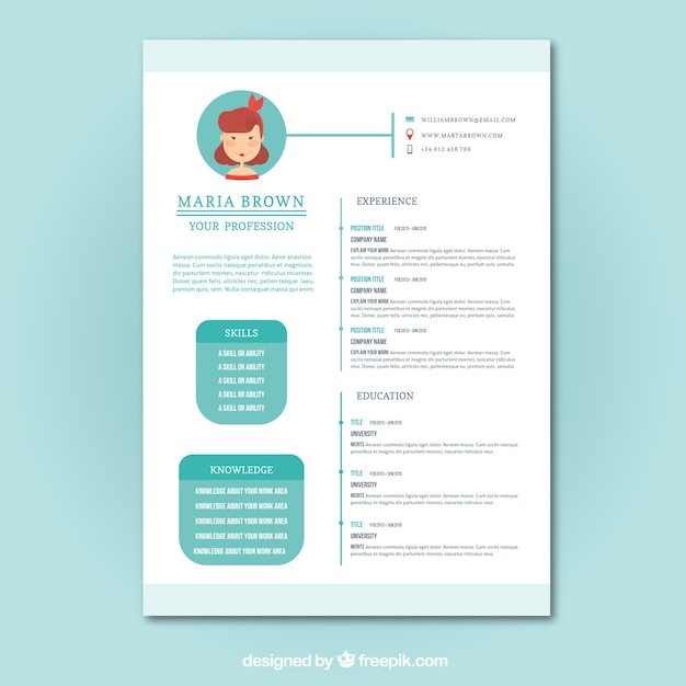 cute resume template vector