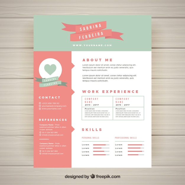 Cute Resume Template Free Vector
