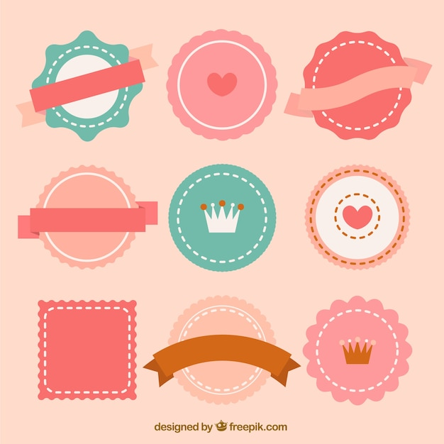 cute retro badges vector free download