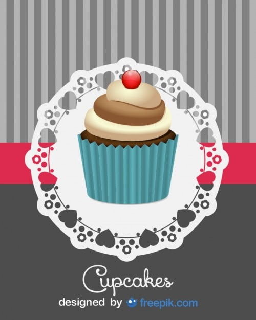 Cute Retro Cupcake Design Free Vector