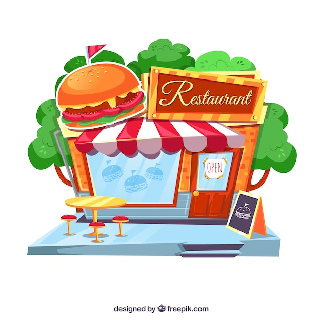 Cute retro hamburger facade Free Vector