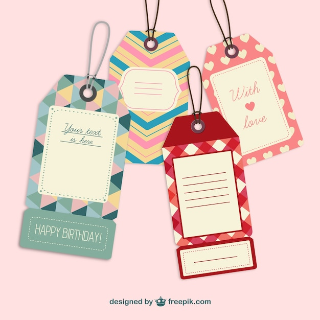 cute retro label tags vector free download