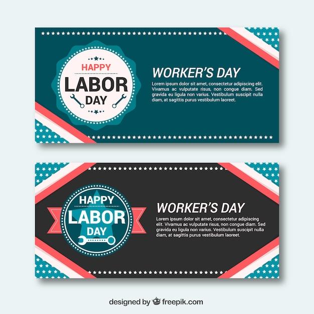 Cute retro labor day banners in flat\ design